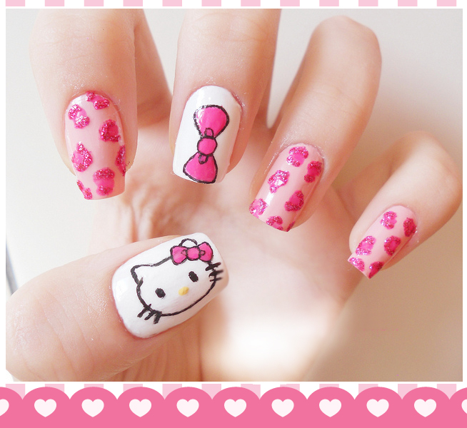 fotos de uñas decoradas con hello kitty