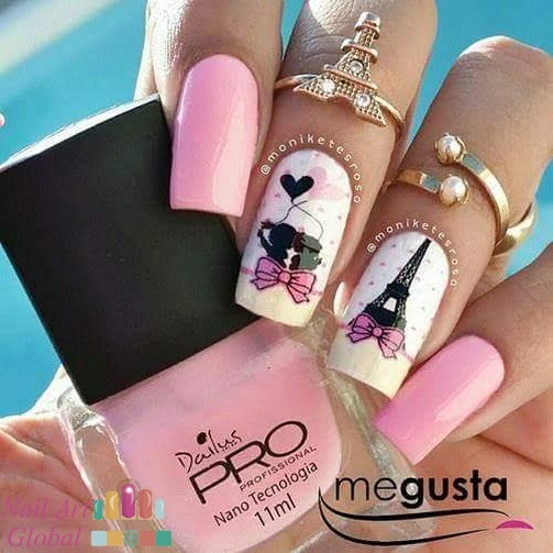 fotos de uñas decoradas con pincel