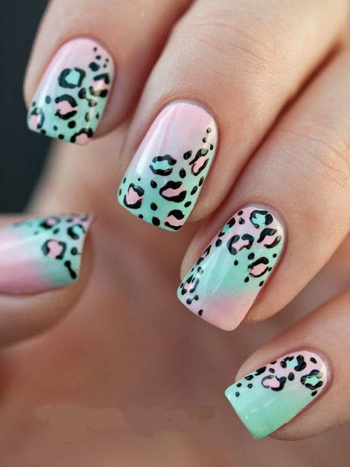 uñas decoradas animal print flor 3d difuminado