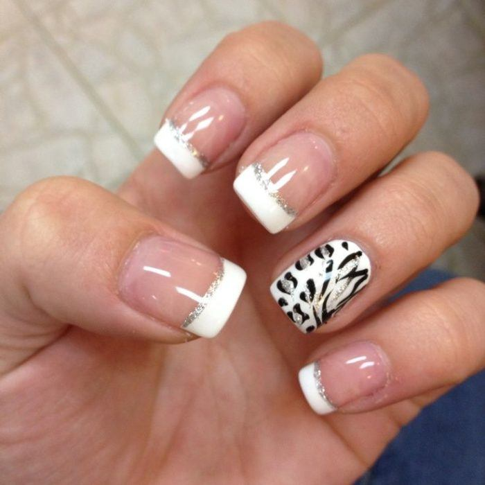 uñas french con animal print